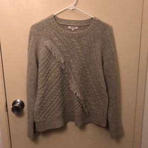 Madewell gray cableknit fringe sweater Small